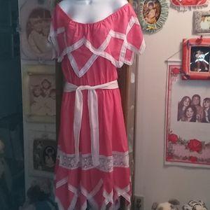 Beautiful Handmade Coral Mexican Maxi Dress